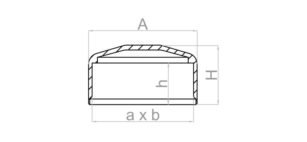 Rysunek: nasadka prostokątna na słupek ogrodzeniowy